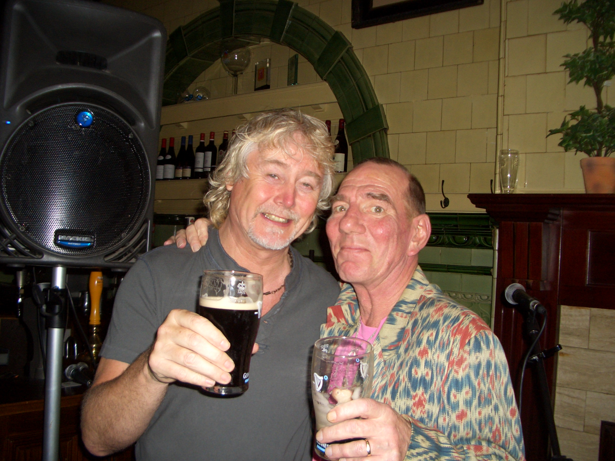 Brian with Actor Pete Postlethwaite at Mr. Thomas's Royal Exchange Gig